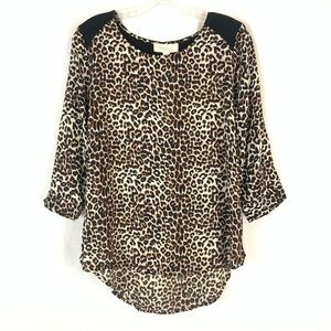 Olive & Oak Cheetah Print High Low Top NWT